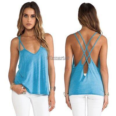 Summer Vest Strap Tops Women Cross Backless Tank Camisole Blouse Shirt OK