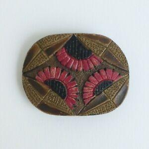 Boucle-bois-grave-peint-Art-Deco-58-mm-XXe-Art-Deco-etched-wood-buckle