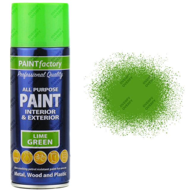 4 X 400ML Multiusos Verde Lima Brillo Pintura en Aerosol Casa de Coche Plástico