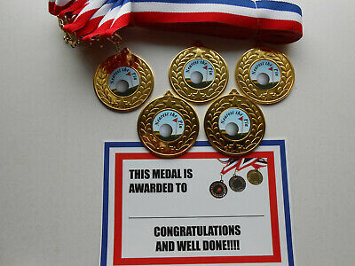 CERTIFICATES = QUIZ SET OF 5 TOP QUALITY METAL MEDALS RIBBONS