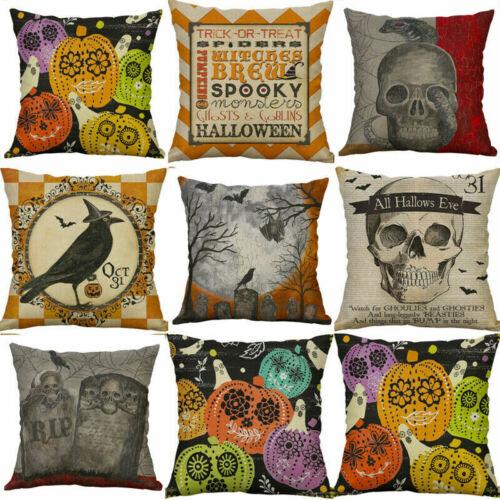 """18/"""" Halloween Skull Throw Cushion Cover Cotton Linen Pillow Case Sofa Home Decor"""