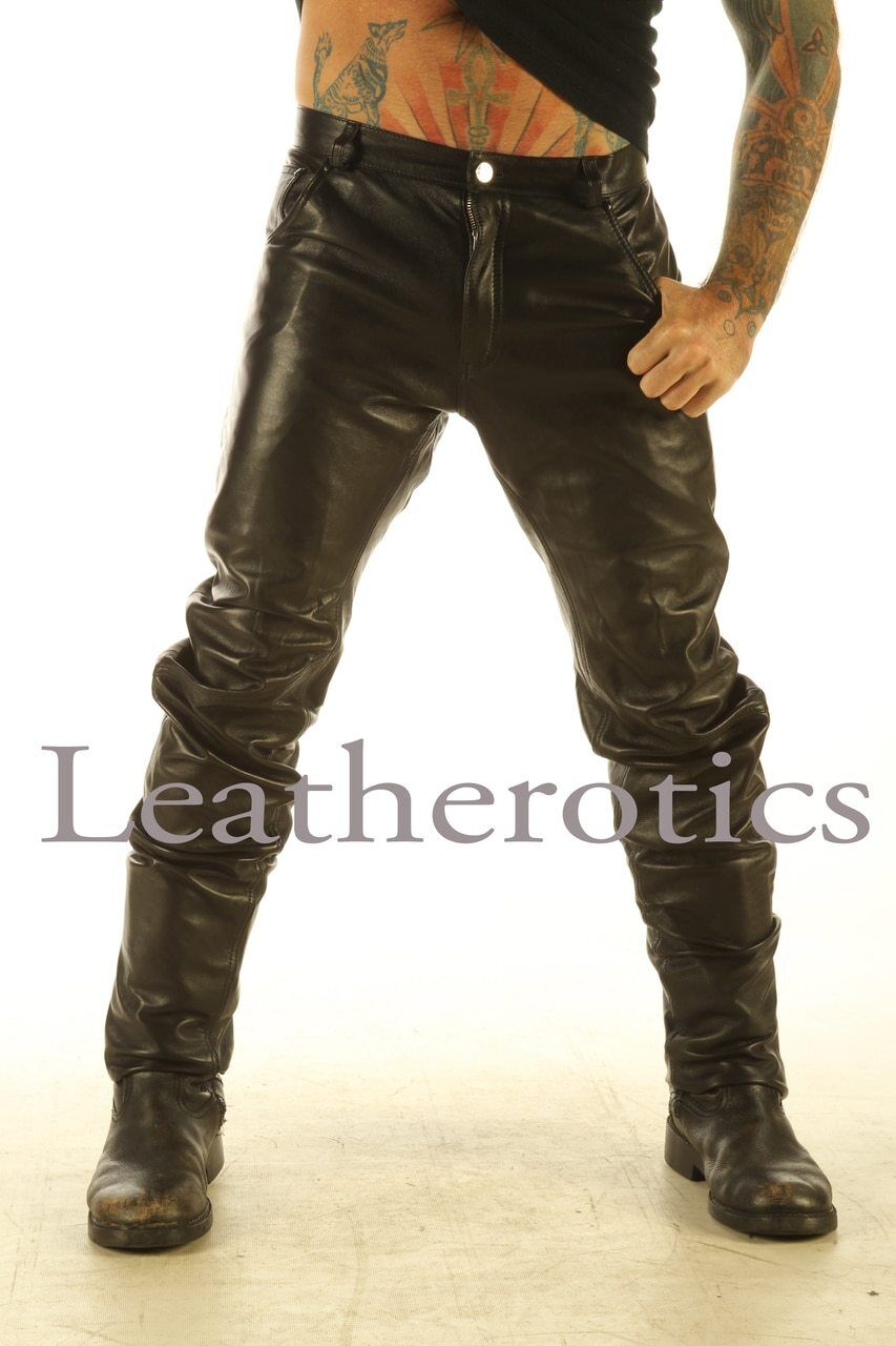 Full Grain real Leather Men's Soft Jeans Trousers Pants