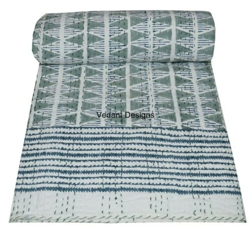 Floral Handmade Kantha Quilt~Indian Bedspread Throw Cotton Blanket Gudari Twin