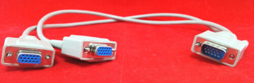 VGA Splitter Y Adapter Video Monitor Dual Screen AUX CABLE 15-PIN SVGA
