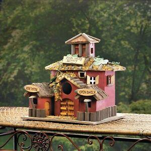 Valley Winery Wood Birdhouse Wine Bar Bird Watching Outdoor Patio Decor