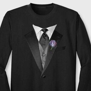 bcc5260c Tuxedo T-shirt Fancy Vest Purple Rose Wedding Groom Grad Tux Long ...