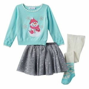 fbef48a14 New Baby Girl Bonnie Jean Scalloped Snowman Sweater Skirt Tights Set ...