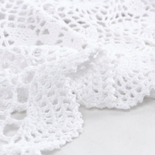 White Vintage Cotton Table Cloth Topper Hand Crochet Lace Doily Floral 15x23inch