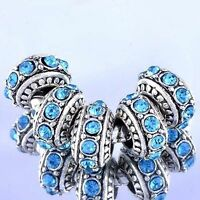 european Charm lot 5pcs Silver Blue crystal big hole Stopper Beads Fit Bracelet