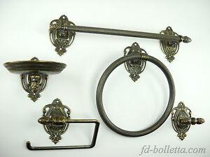 Accessori Bagno Ottone Anticato.Set Da Bagno Ottone Brunito In Stile Impero Kit Accessori Bagno 5 Pezzi Wc28 Ebay