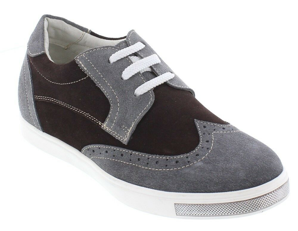 CALTO Y26182 - 2.4 Inches Elevator Height Increase Grey/marrone Fashion Lace Up
