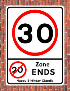 Details About 30 Mph 20 Zone Ends Road Style Metal Sign 30th Birthday 30 Years Old Gift Notice