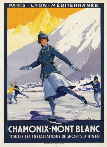 MONT BLANC FRANCE Skiing//Travel Poster A1A2A3A4Sizes Vintage CHAMONIX