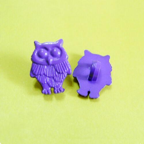 20 Owl Bird Flying Kid Novelty Shank Sew On Buttons Cardmarking Purple K132
