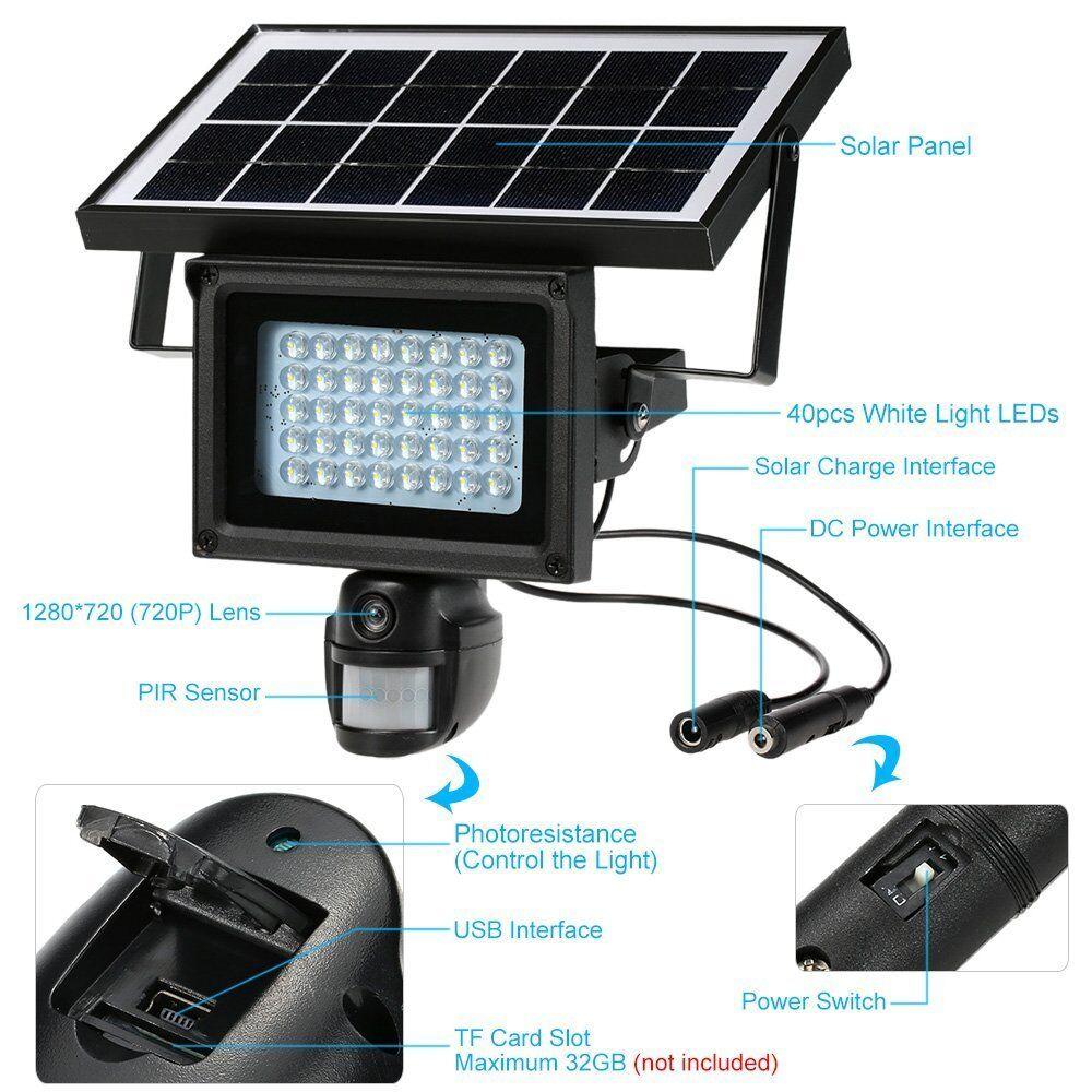 Outdoor Solar Security DVR Camera Surveillance Built in PIR Night Vision