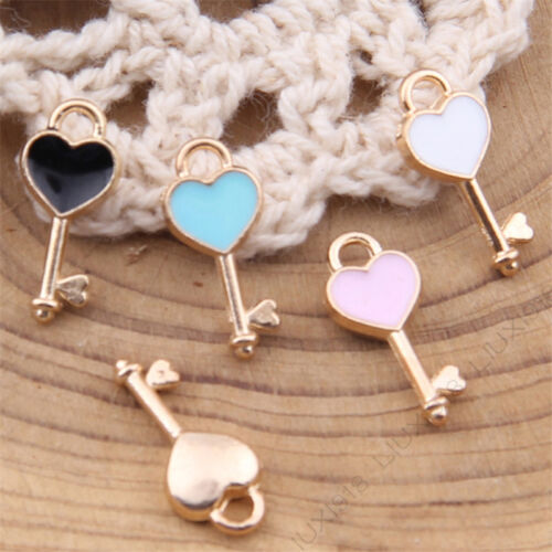 Charms Love heart Key Pendant Beads Jewelry Making Gold GP Small Pendants 1015H
