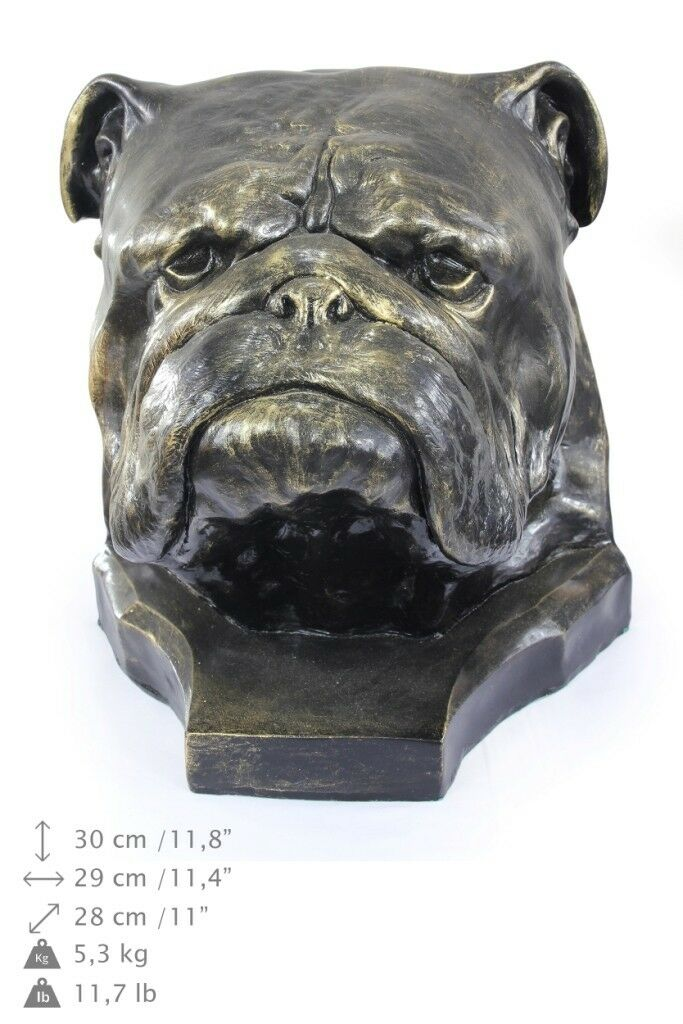 Bulldog inglese - testa di cane, figurina in resina Art Dog IT