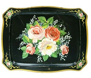 Vintage-Hand-Painted-Tole-Tray-Floral-Design-18-1-2-034-x-14-Well-Loved-Metal-Tray