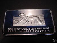 Rare Woman Silver Clad Art Bar -lost Her Video Game Console In The Sand- Nice