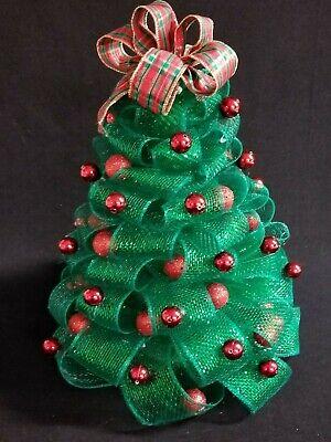 15 Green Mesh Netting Christmas Tree Red Balls Plaid Ribbon Holiday Decor Ebay