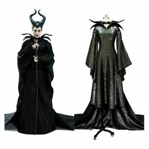 Details About Movie Maleficent Costume Black Witch Christening Gown Fancy Dress Cosplay Horn