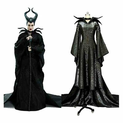 Movie Maleficent Costume Black Witch Christening Gown Fancy Dress Cosplay Horn Ebay