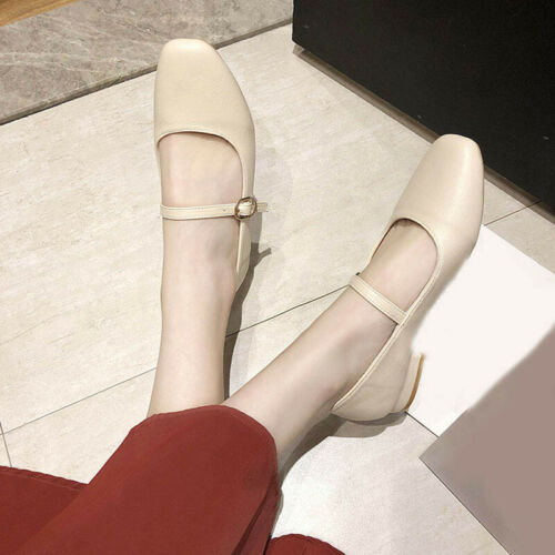 Details about  /Womens Chic Square Toe Work Pumps Low Heels Loafer Buckle Strap Shoes Mary Janes