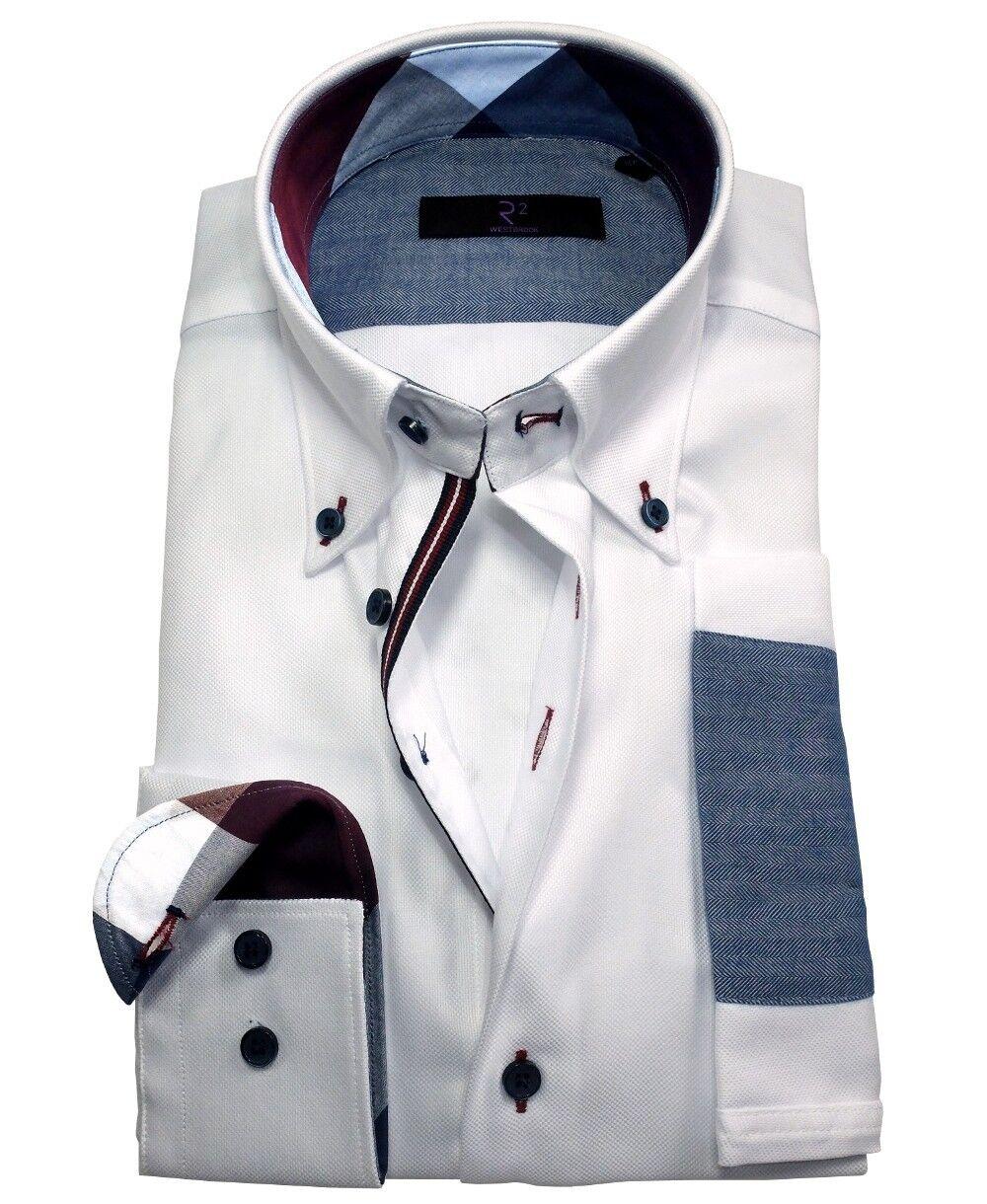 R2 Westbrook Modern Fit Langarmhemd weiss Struktur mit Ärmelpatches Gr. 38-46