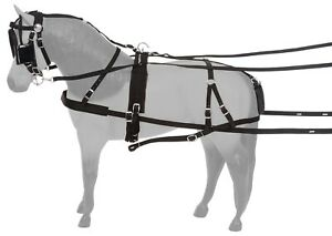 Complete Set Pony Horse Driving Harness Leather Black