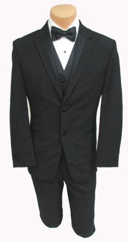 Black Perry Ellis Tuxedo Jacket w// Pants Cummerbund /& Bow Tie Wedding Prom Mason