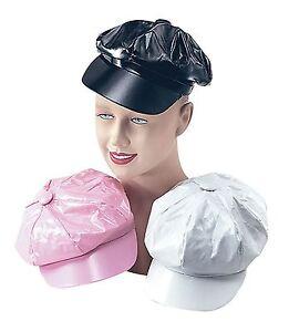 3d83801204a3e 1970 s PVC Hat Disco Hippy Retro Fancy Dress Hat Cap 60 s MOD Black ...