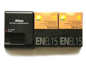 Two-EN-EL15-Battery-MH-25-Charger-For-Nikon-D600-D7100-D7100-D750-V-D800-D810