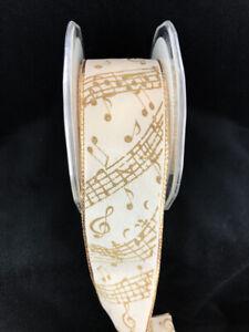 Ivory-Taffeta-Music-Notes-Ribbon-Wired-9-Yard-Spool-1-5-034-Wide