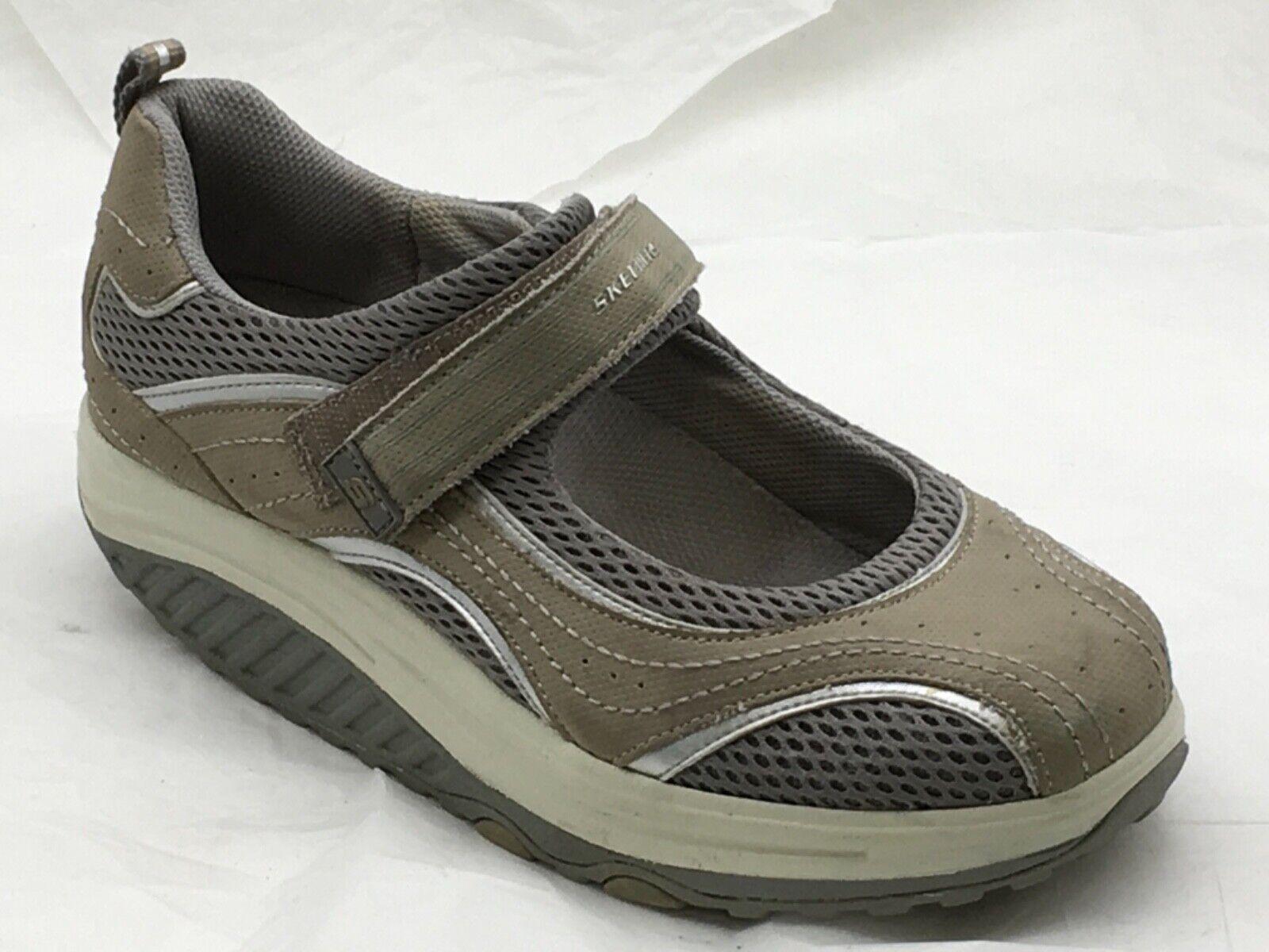 Femme Femmes Marron Argent SKECHERS SHAPE UPS Tonifiant Chaussures de tennis Mary Janes 7.5