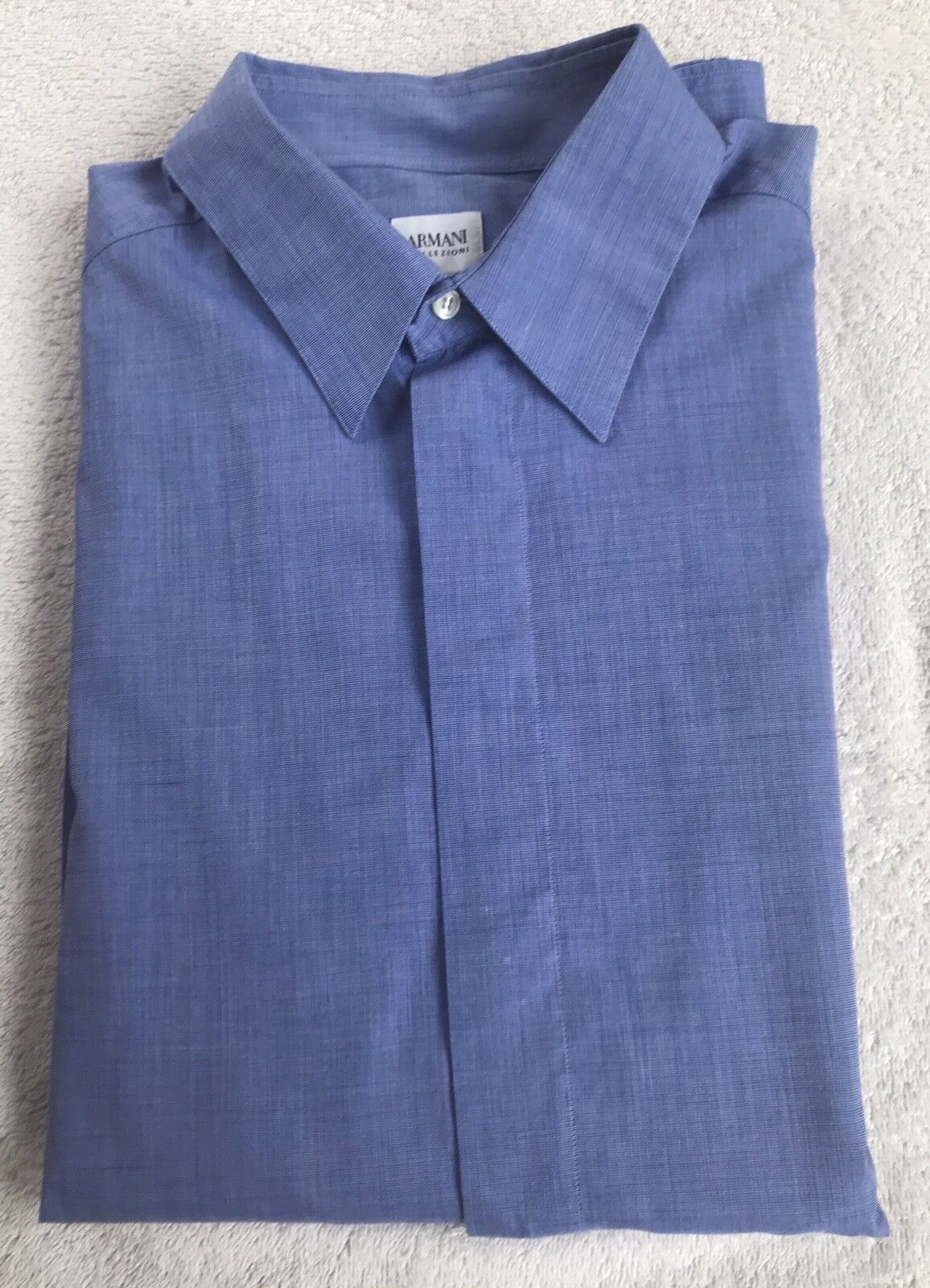 Armani Collezioni Men'sDesignerShirt - Mid bluee - 17ich Collar