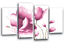 FLORAL CANVAS ART PICTURE PINK WHITE FLOWER LOVE PAINTING 4 WALL PANELS