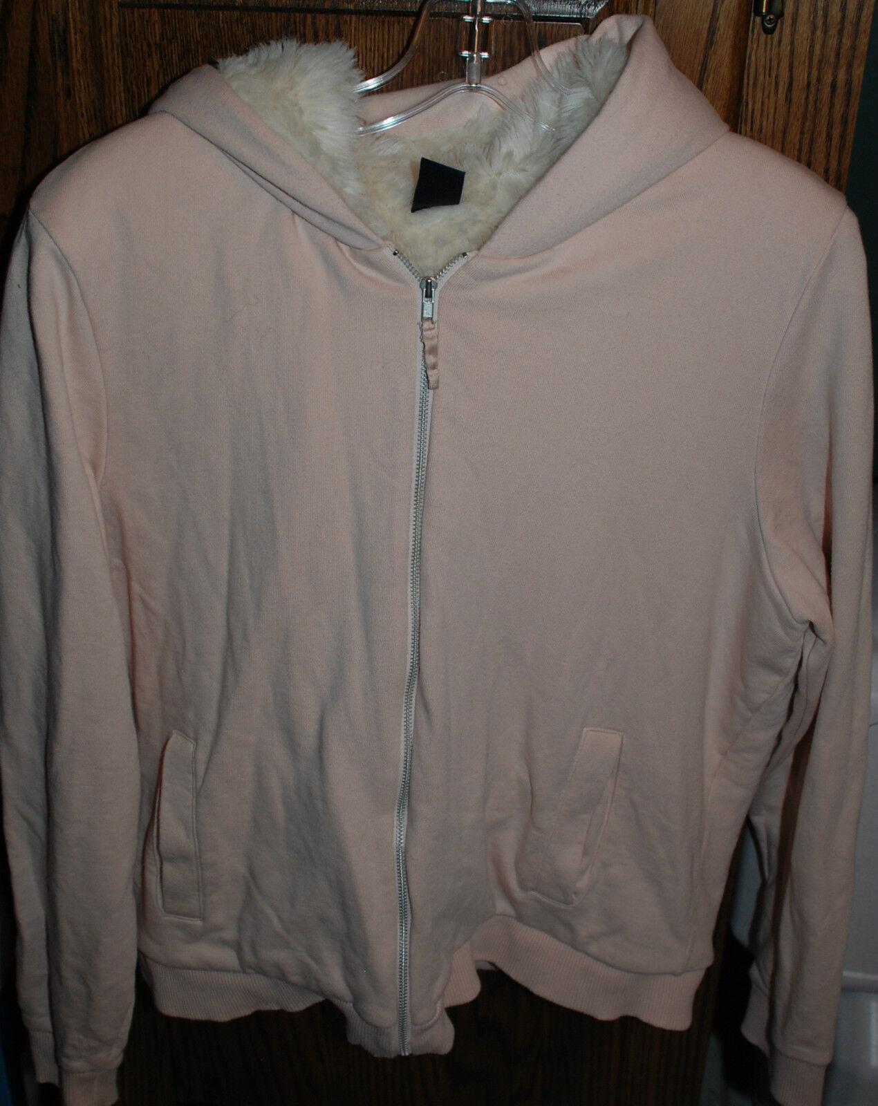 XL EUC GAP Pink Faux Fur Lined LS Zip Front Hoodie
