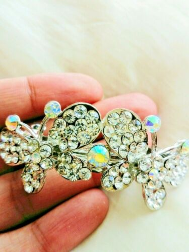 Diamante Rhinestone Crystal Prom Hair Accessories Hair Clip Butterfly Bridal