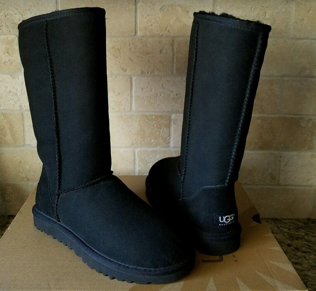 Botas de piel de oveja UGG Classic Tall Color Negro Suede, talla US 11 para mujer 5815 ¡Nuevo!