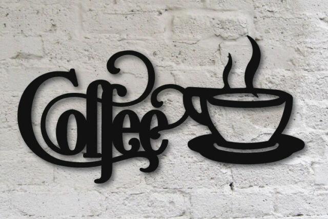 Black Coffee Sign With Mug 14 X 7 Metal Kitchen Bistro Wall Decor Aluminum