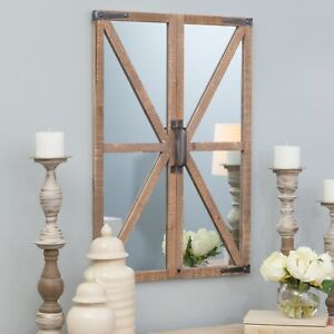 Details About Rustic Windowpane Barn Door Wall Mirror Distressed Wood Frame Farmhouse Decor
