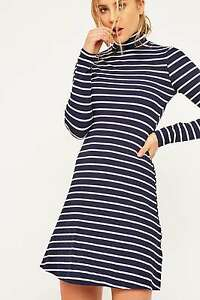 d352411a20 Image is loading Urban-Outfitters-BDG-Striped-Turtleneck-Dress-Navy-Small-