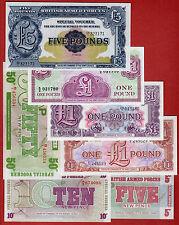 British Armed Forces Lot o 7 Bank Notes 5 Pounds 3x1P  50 Cents 10 c 5 c UNC!!