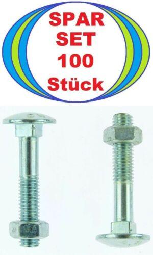 8 Piece M8 x 45 Lock Bolts with Nut 8x45 Flat Round Screws DIN 603 MU