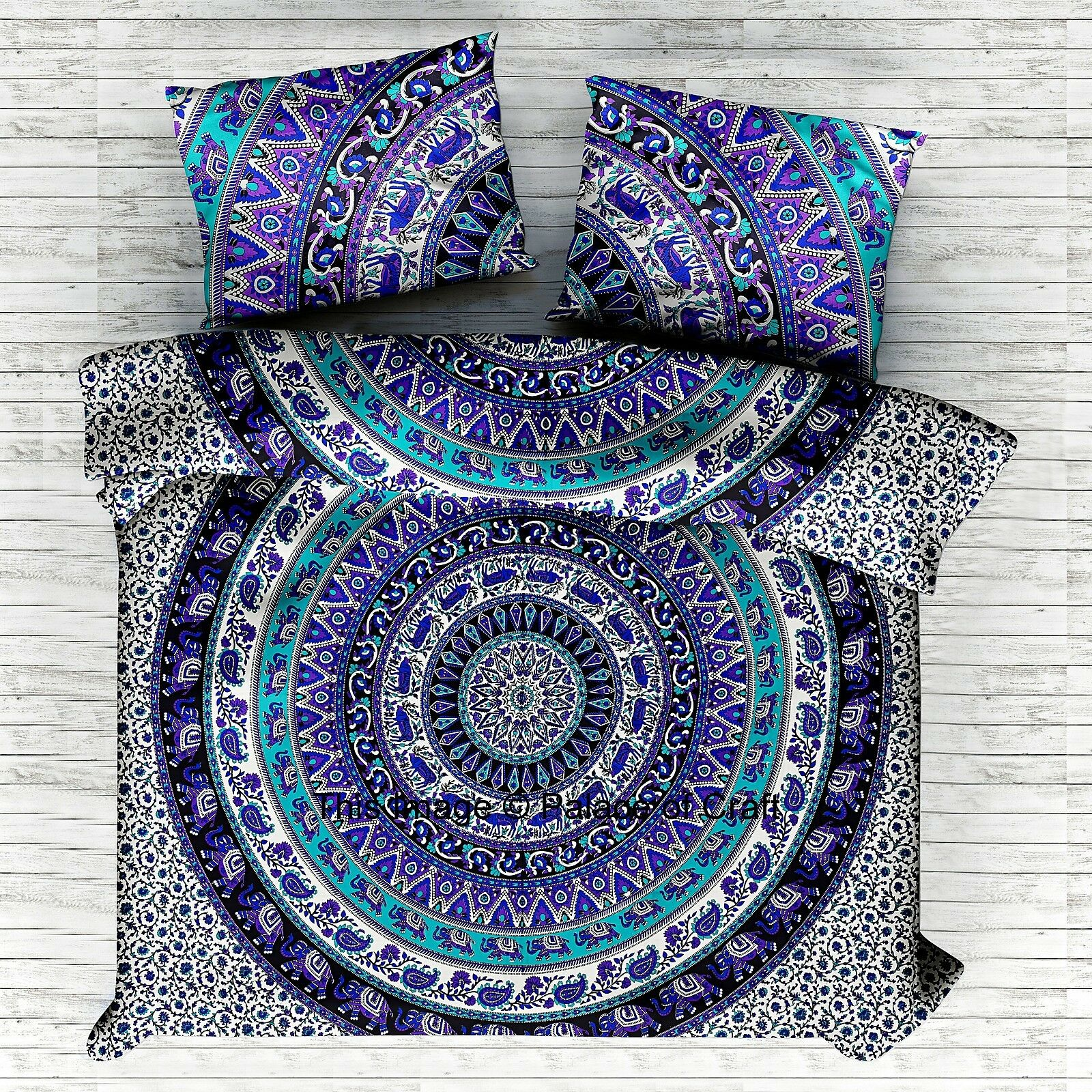 Indian Bed Cover Tapestry Cotton Elephant Mandala Bedspread With Pillow Covers
