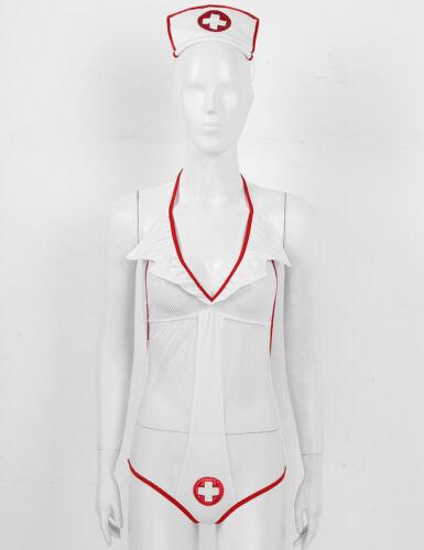 Details about  /Nurse Cosplay Uniform Women Sleepwear Babydoll Underwear French Maid Costume