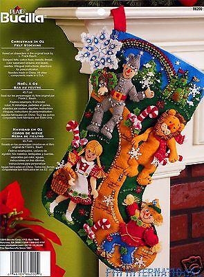 """Bucilla Wizard of Oz ~ 18"""" Felt Christmas Stocking Kit #86200, Dorothy, Tin Man"""