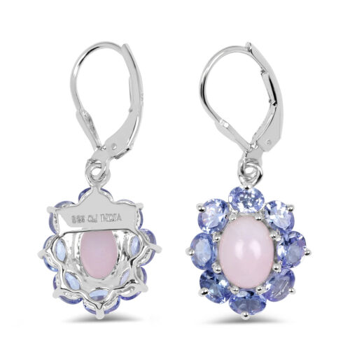Argent Sterling 925 Boucles d/'oreilles pendantes 4.20 ct Genuine Rose Opale /& violet tanzanite