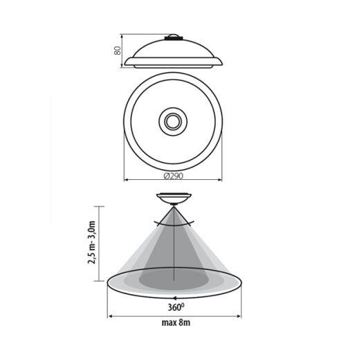 Kanlux FOGLER DEL 14 W PIR Motion Mouvement Capteur Mur Plafonnier IP20