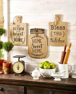Details About Cutting Board Look Wall Decor Rustic Mason Jar Sentiments Kitchen Wall Hanging